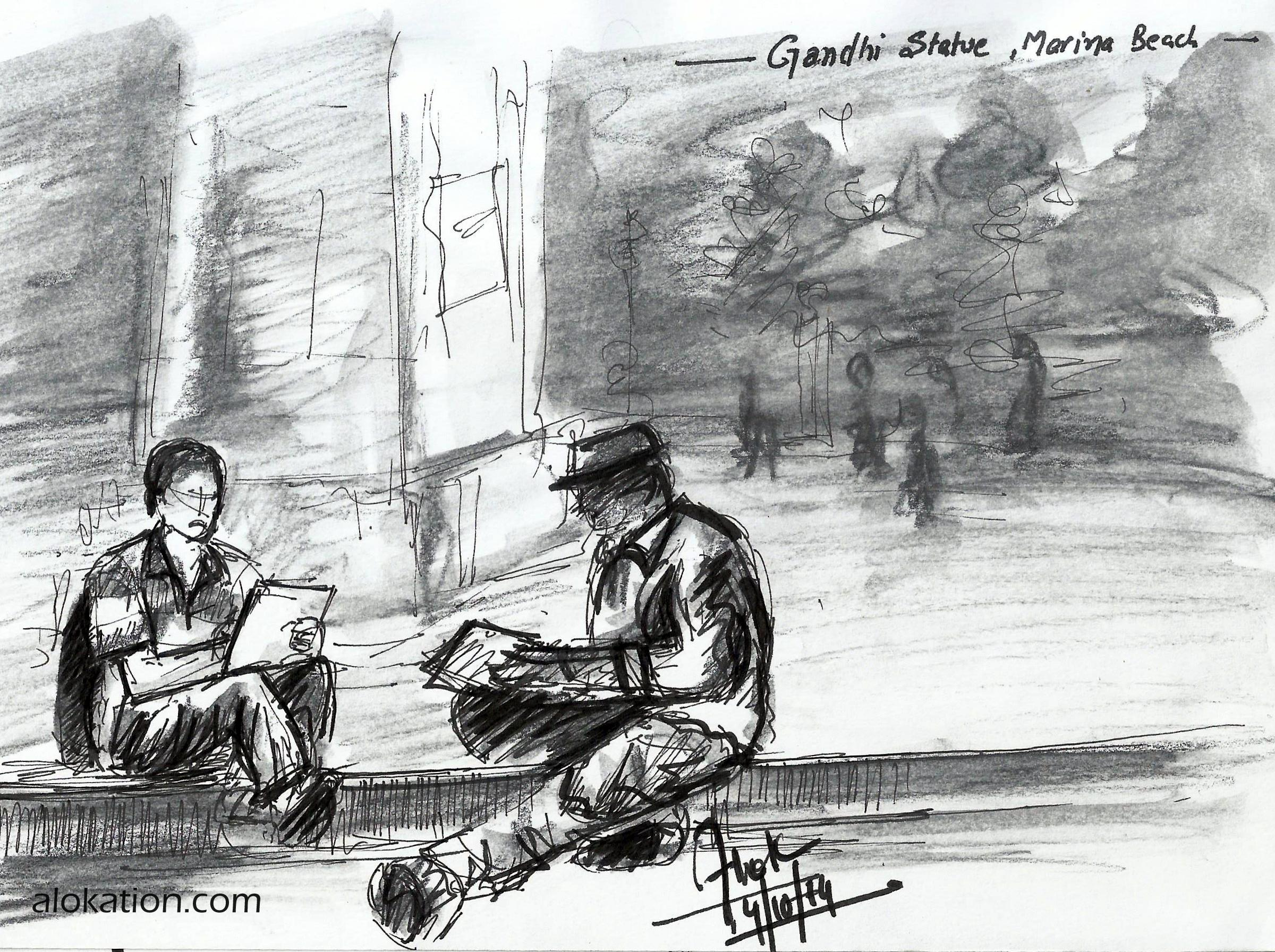 CWA Sketchers sketching under Gandhi Statue