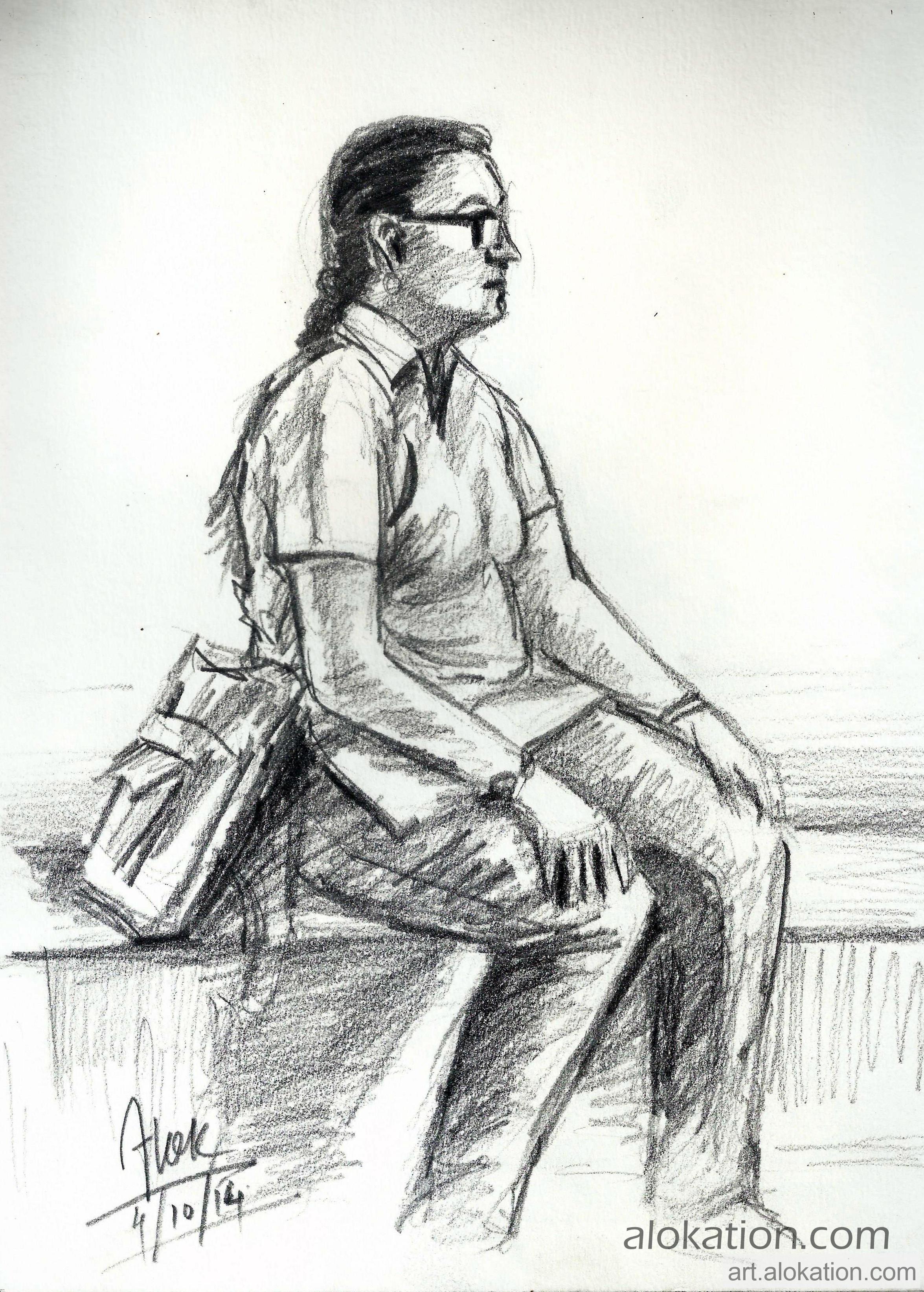 Sumitha Sundaram posing for posture study